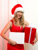 Beautiful woman in red cloth with copyspace Stock Photo