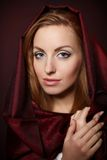 Beautiful woman in red color cloth Royalty Free Stock Images