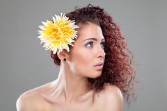 Beautiful woman with red curly hair Royalty Free Stock Photos