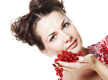 Beautiful woman with red currant Royalty Free Stock Photography
