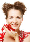 Beautiful woman with red currant Stock Photography