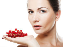 Beautiful woman with red currant Royalty Free Stock Photos