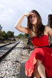 Beautiful woman with red dress Royalty Free Stock Images