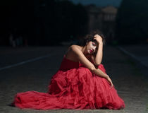 Beautiful woman in red dress Stock Image
