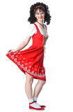 Beautiful woman in the red dress. And white socks Royalty Free Stock Images