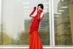 Beautiful woman in red dress Stock Photo