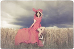 Beautiful woman in red dress background Stock Images