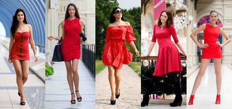 Beautiful woman in red dress Royalty Free Stock Photography