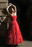 Beautiful woman in red dress Stock Photography