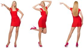 The beautiful woman in red dress isolated on white royalty free stock photo