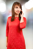 Beautiful woman in a red dress Stock Photo