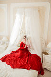 Beautiful woman in a red dress Royalty Free Stock Images