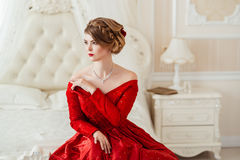 Beautiful woman in a red dress Royalty Free Stock Photo