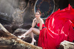 Beautiful woman in Red dress. Portriat Royalty Free Stock Photos