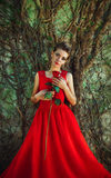 Beautiful woman in a red dress with a rose in hand on background. Young beautiful woman in a red dress with a rose in hand on background of the old wall Royalty Free Stock Photo