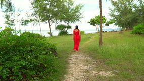 Beautiful Woman in Red Dress Walking in Tropical Garden. The woman in a long red dress walks on the eleny beautiful. On this video you can see as the woman in a stock footage