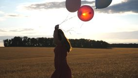 Beautiful woman in red dress walking through wheat field and holding balloons in hand. Happy young girl with brown hair. Spending time at barley plantation stock footage