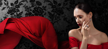 Beautiful woman in red evening dress Royalty Free Stock Photos