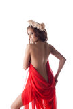 Beautiful woman in red fabric Stock Image