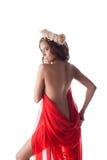 Beautiful woman in red fabric Stock Image