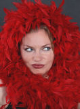 A beautiful woman in the red feathers Stock Photos