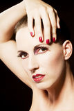 Beautiful woman with red fingernails Royalty Free Stock Images