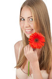 Beautiful woman with red flower Stock Photo