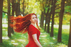 Beautiful woman with red fluttering hair Royalty Free Stock Image