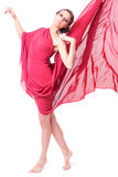 Beautiful woman in red flying dress Stock Images