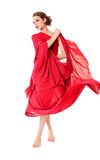 Beautiful woman in red flying dress Royalty Free Stock Photos