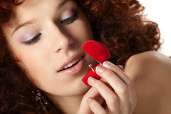 Beautiful  woman with red gift box Royalty Free Stock Photo