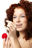 Beautiful  woman with red gift box Stock Images