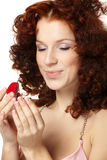 Beautiful  woman with red gift box Royalty Free Stock Image