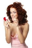 Beautiful  woman with red gift box Stock Photography