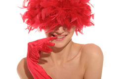 Beautiful woman in red gloves and hat Royalty Free Stock Photography