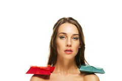 Beautiful woman with red and green presents on her Stock Images