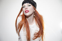 Beautiful woman with red hair royalty free stock photography