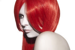 Beautiful woman with red hair stock photos