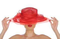 Beautiful woman with red hat Stock Photos