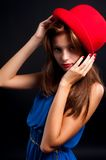 Beautiful woman with red hat Royalty Free Stock Photos