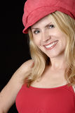 Beautiful woman in red hat Royalty Free Stock Photo