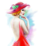 Beautiful woman in red hat and a dress Royalty Free Stock Photos