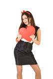 Beautiful woman with red heart Stock Photos