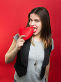 Beautiful woman with red heart Royalty Free Stock Photo