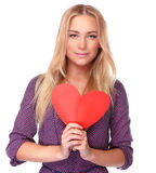 Beautiful woman with red heart Royalty Free Stock Images