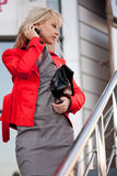 Beautiful woman in red jacket Stock Photo