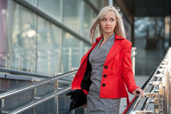 Beautiful woman in red jacket Royalty Free Stock Image