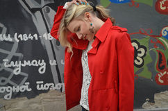 Beautiful woman in the red jacket. Woman in the red jacket. Photo is taken in Laze Teleckog street in Novi Sad Stock Photos