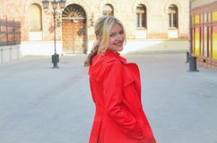 Beautiful woman in the red jacket. Woman in the red jacket. Photo is taken in Pasiceva street in Novi Sad Royalty Free Stock Image