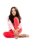 Beautiful woman in red jeans. Isolated Stock Photos